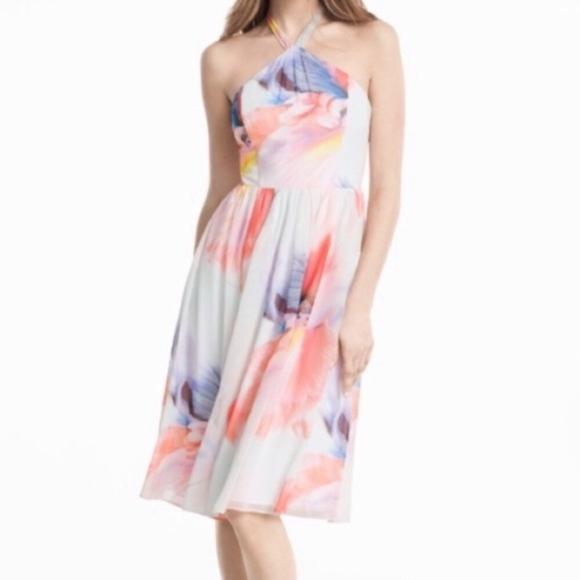 White House Black Market Dresses & Skirts - WHBM Halter Chiffon Floral Dress Sz 4